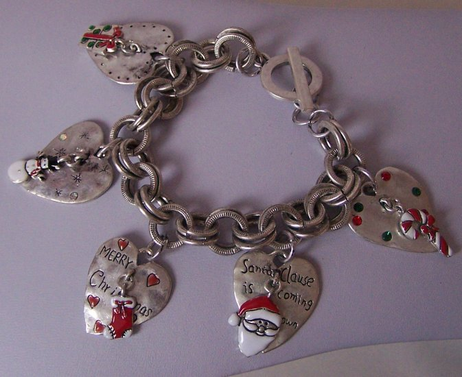 Chunky Merry Christmas Santa Claus Frosty Snowman Stocking Presents Heart Love Bracelet