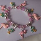 Pink Flamingo Bird Birds Palm Tree Tropical Charm Bead Bracelet