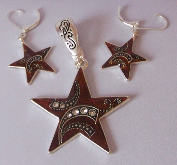Brown Western Art Deco Style Rodeo Texas Star Lonestar Necklace Pendant Earring Set