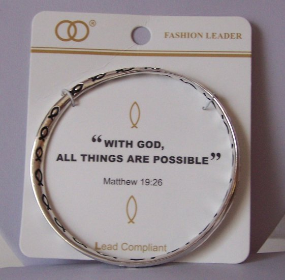 Religious Christian Matthew 19:26 With God All Things Are Possible Bangle Bracelet