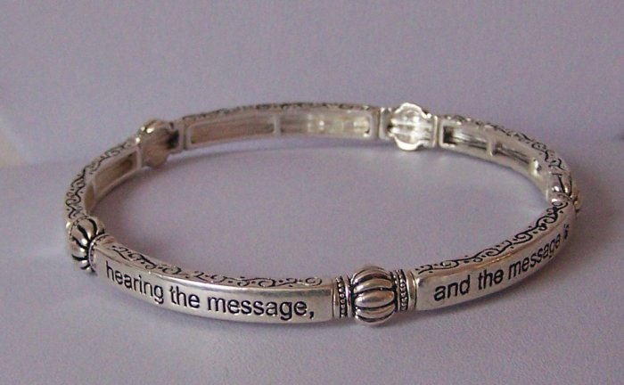 Religious Christian Romans 10:17 Faith Comes By Hearing the Word Stackable Bangle Bracelet