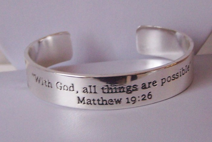 Religious Christian Silver Matthew 19:26 All Things Are Possible Bangle Bracelet
