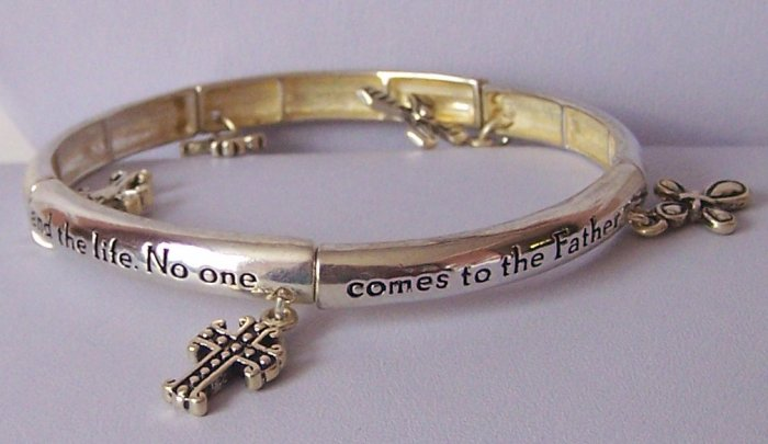 Religious Christian John 14:6 Comes to the Father Cross Bangle Bracelet