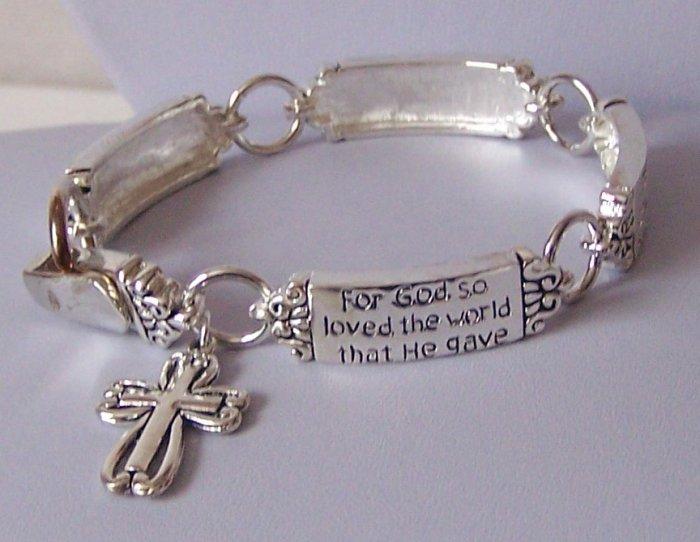 Religious Christian John 3:16 For God So Loved the World Cross Charm Bracelet
