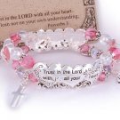Religious Christian Proverbs 3:5 Trust in the Lord Pink Silver Tone Bangle Bracelet
