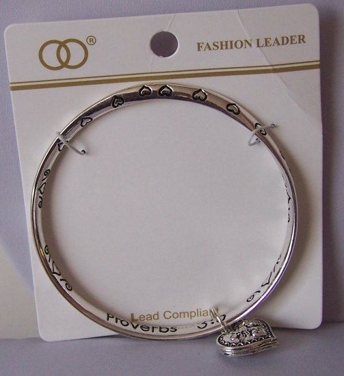 Religious Christian Proverbs 3:5 Trust in the Lord Heart Charm Bangle Bracelet
