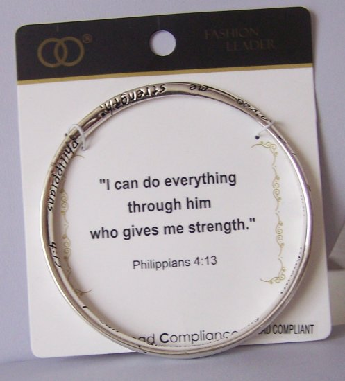 RELIGIOUS PHILIPPIANS 4:13 CHRISTIAN QUOTE WORD MOBIUS BRACELET