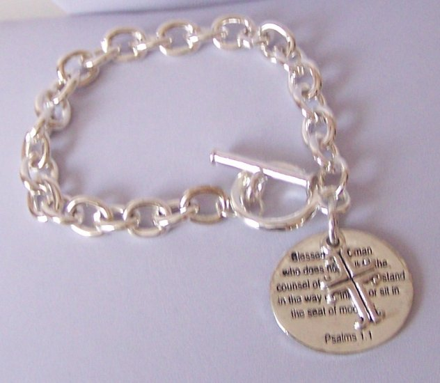 Religious Christian Psalms 1:1 Cross Charm Bracelet