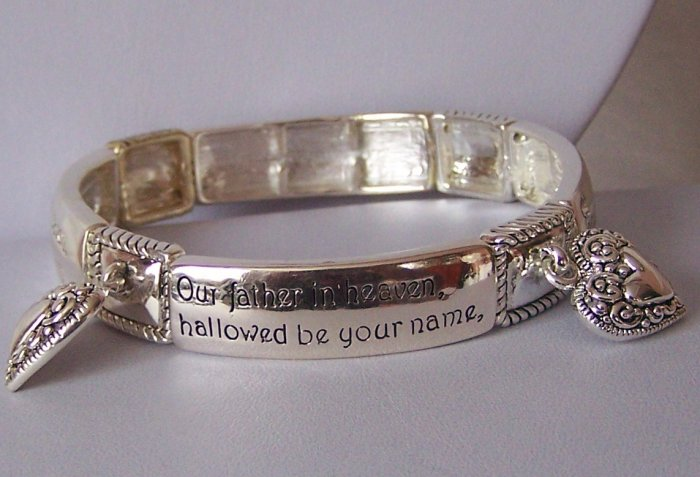 Religious Christian The Lords Prayer Heart Charm Bangle Bracelet