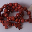 Mahogany Style Brown Religious Christian Wood Three Cross Bead Bracelet
