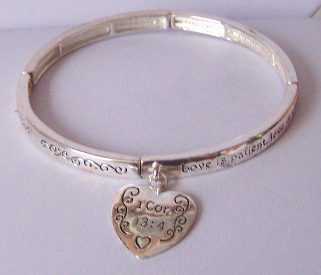 Religious Christian 1 Corinthians 13:4 Charm Bangle Bracelet
