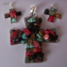 Black Red Blue Brown Turquoise Western Cowgirl Chunky Religious Cross Necklace Pendant Earring Set