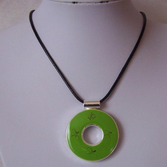 Green Circle Ring Hoop Necklace Pendant