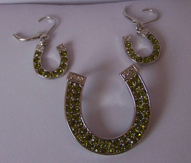 Olive Green Western Cowgirl Crystal Rodeo Horseshoe Horse Shoe Necklace Pendant