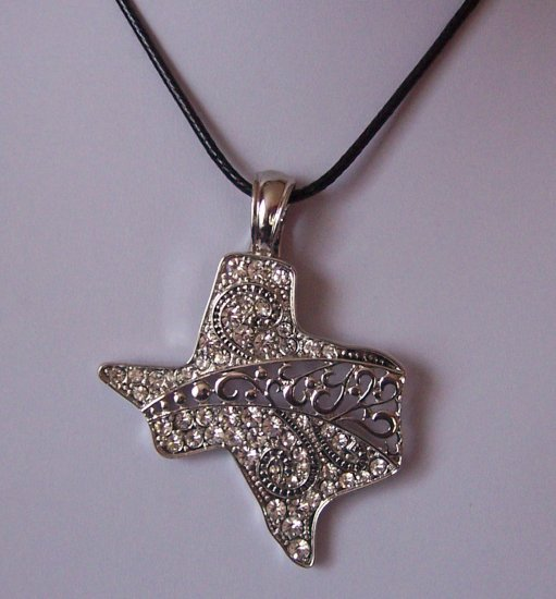 Clear Crystal Western Cowgirl Magnetic Rodeo Texas State Necklace Pendant