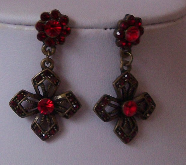 Red Crystal Cross Flower Antique Style Earrings