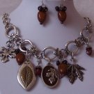 Antique Style Brown Leaf Leaves Fall Harvest Necklace Set