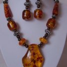 Brown Yellow Amber Style Wood Bead Necklace Set