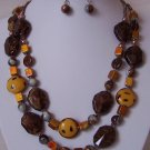 Brown Mustard Yellow Patina Mixed Glass Bead Gray Grey Necklace Set