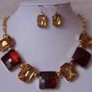 Mixed Brown Gold Tone Cabochon Necklace Set