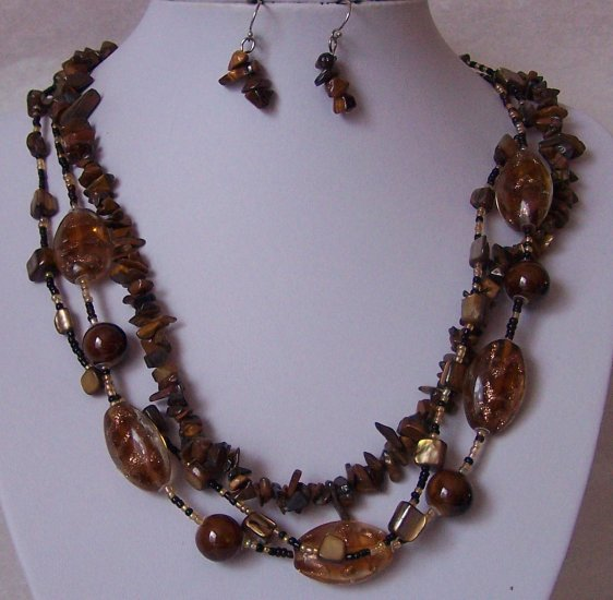 Brown Glass Mixed Natural Turquoise Tigers Eye Ceramic Seed Bead Necklace Set