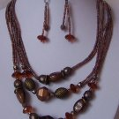 Brown Multistrand Mixed Bead Necklace Set