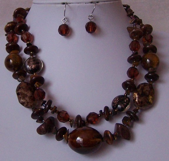 Brown Multistrand Glass Mixed Tigers Eye Bead Necklace Set
