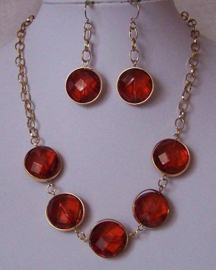 Brown Cabochon Necklace Set