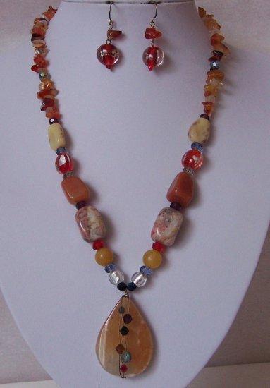 Tan Brown Black Blue White Red Natural Stone Semi Precious Semiprecious Necklace Set