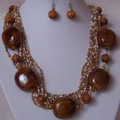 Brown White Mix Bead Multistrand Ceramic Wood Necklace Set