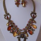 Victorian Style Heart Love Bird Guardian Angel Wing Flower Pearl Necklace Set