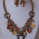 Victorian Style Heart Love Bird Guardian Angel Wing Flower Pearl Necklace Set