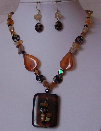 Brown Semi Precious Semiprecious Black AB Natural Stone Necklace Set