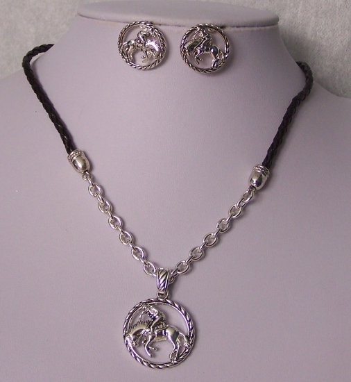 Black Silver P Western Rodeo Necklace Set