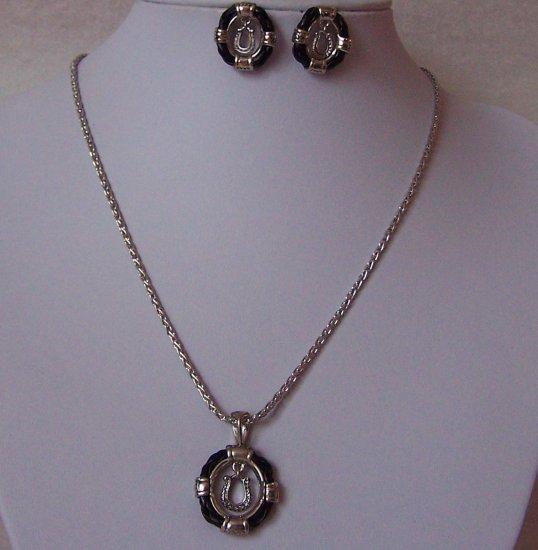 Black Horseshoe Horse Shoe Western Necklace Set