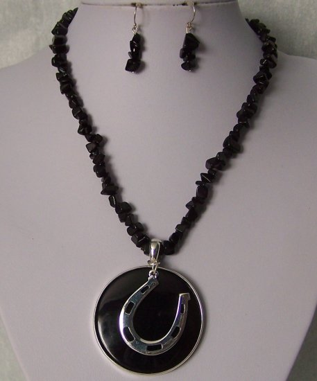 Black Horse Horseshoe Shoe Western Turquoise Stone Semiprecious Semi Precious Necklace Set