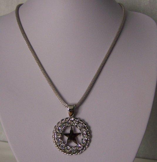 Clear SP Crystal Texas Star Aurora Borealis Rodeo Lonestar Chunky Western Necklace
