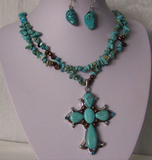 Religious Western Blue Semiprecious Semi Precious Turquoise Cross Freshwater Pearl Necklace Set