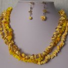 Yellow Triple Strand Turquoise Semiprecious Semi Precious Western Necklace Set