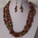 Red Green Brown Multicolor Triple Strand Turquoise Semiprecious Semi Precious Western Necklace Set