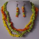Green Orange Yellow Triple Strand Turquoise Semiprecious Semi Precious Western Necklace Set