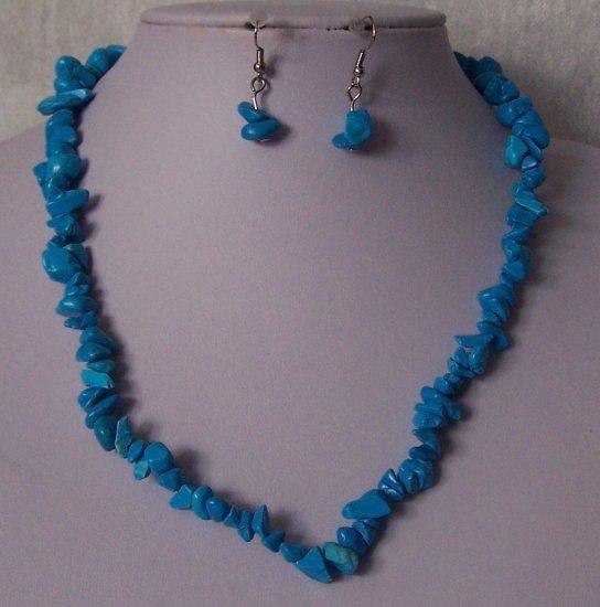 Blue Single Strand Turquoise Semiprecious Semi Precious Western Necklace Set