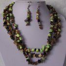 Brown Green Triple Strand Turquoise Semiprecious Semi Precious Western Necklace Set