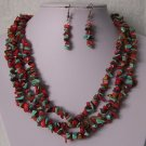 Red Blue Brown Triple Strand Turquoise Semiprecious Semi Precious Western Necklace Set