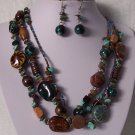 Blue Brown Mixed BeadTriple Strand Turquoise Semiprecious Semi Precious Western Necklace Set
