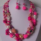 Hot Pink White Pearl Turquoise Semiprecious Semi Precious Western Necklace Set