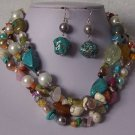 Blue Green Mixed Pearl Turquoise Semiprecious Semi Precious Western Necklace Set