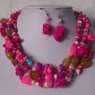Hot Pink White Fuchsia Pearl Turquoise Semiprecious Semi Precious Western Necklace Set