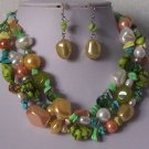 Green Peach White Pearl Turquoise Semiprecious Semi Precious Western Necklace Set
