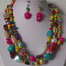 Blue Pink Yellow Green Mix White Pearl Turquoise Semiprecious Semi Precious Western Necklace Set